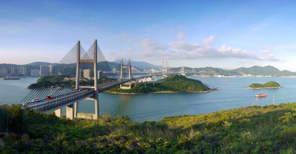 Kap Shui Mun Bridge, Tsing Ma Bridge, Ting Kau Bridge and Tai Mo Shan seen from Fa Peng Teng | 從花瓶頂望汲水門大橋、青馬大橋、汀九橋、馬灣、大帽山