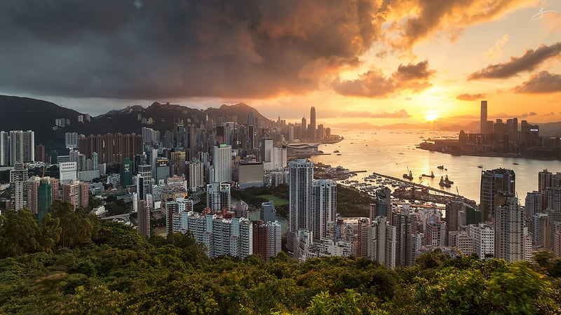 Hong Kong Victoria Harbor and ICC seen from Braemar Hill