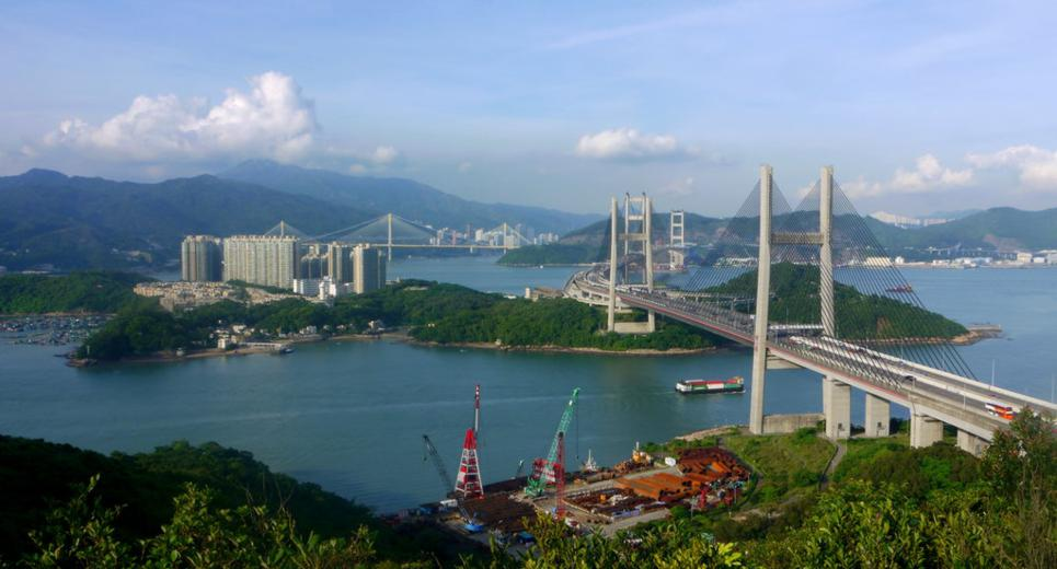 Kap Shui Mun Bridge, Tsing Ma Bridge, Ting Kau Bridge, Ma Wan and Tai Mo Shan seen from Ng Kwu Leng | 從五鼓嶺望汲水門大橋、青馬大橋、汀九橋、馬灣、大帽山
