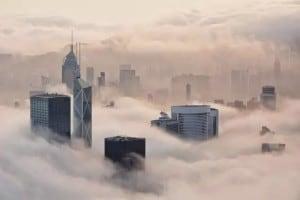 Fog at Hong Kong Island seen from Lugard Road